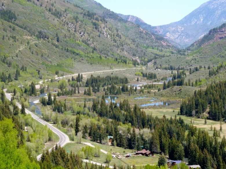 The Crystal River along Highway 133 below McClure Pass as it winds slowly past Placita, an old coal-mining town. A dam that would have blocked the river here is now off the books after an aggressive challenge by Pitkin County.