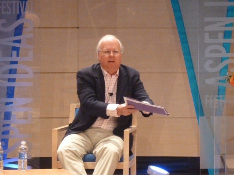 Karl Rove on stage at Paepcke Auditorium on Thursday, June 27 at the Aspen Ideas Festival.