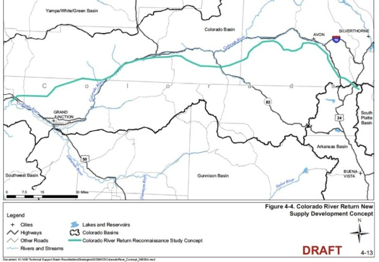A map of the concept to divert water from the Colorado River at Loma and pump to locations to the east. Source: 2009 CWCB report on Strategies for Colorado's Water Supply Future.