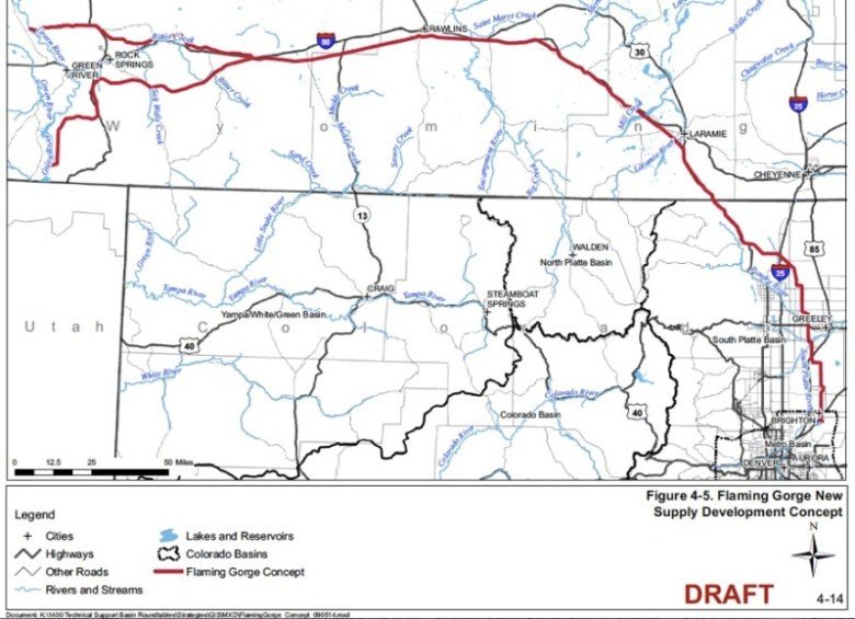 A map from the 2009 CWCB report, Strategies for Colorado's Water Supply Future, that shows pipelines from the Flaming Gorge Reservoir to points east.