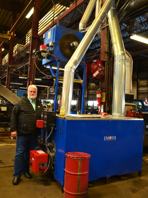 Chief Sustainability Officer Brent Giles says Park City Mountain Resort generates 1500-1700 gallons of waste oil annually and uses it to heat the maintenance shop with this furnace.