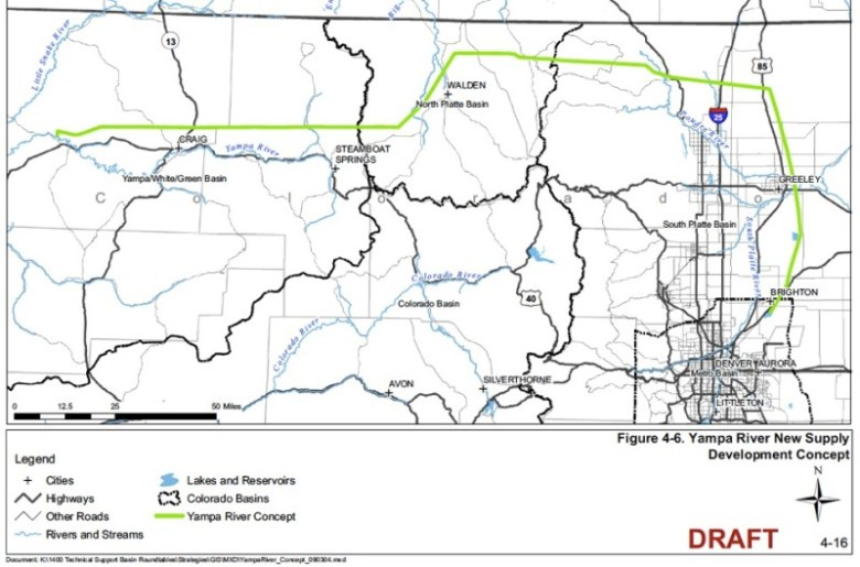 A conceptual view of a way to move water from the Yampa River to the Front Range. Source: 2009 CWCB report, Strategies for Colorado's Water Supply Future.