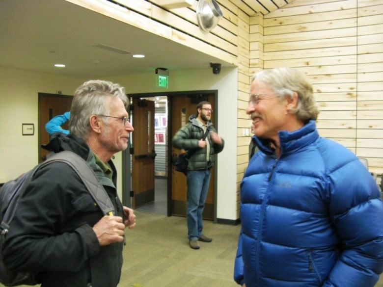 Jerome Osentowski (left) talks farms and food with architect Doug Graybeal at Thursday's meeting. Osentowski is founder of Central Rocky Mountain Permaculture Institute, on Basalt Mountain. Graybeal has a large home garden and advocates sustainability. Paul Holsinger (center) is Land Officer for Pitkin County Open Space and Trails.