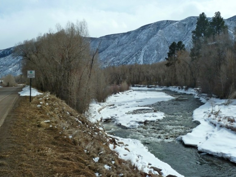 Looking up the Roaring Fork River at the location of the proposed Pitkin County River Park in Basalt along Two Rivers Road, just below the entrance to Elk Run, and just down the road from Fisherman's Park. The stretch of river is below is the low Basalt bypass bridge. Photo taken in Feb. 2013.