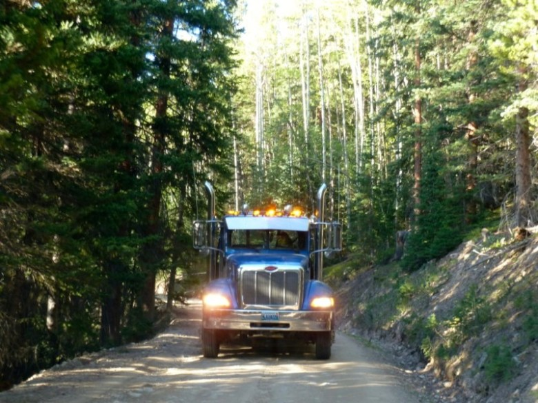 A truck heading down Little Annie Road on Monday, June 9.