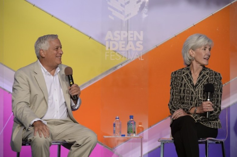 Walter Isaacson, president and CEO of the Aspen Institute, and Kathleen Sebelius, at the Aspen Ideas Festival on Friday, June 27, 2014.