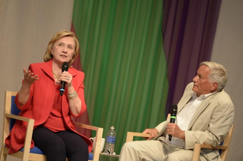 "Hillary Clinton, left, with Walter Isaacson, president and CEO of the Aspen Institute, at the Aspen Ideas Festival on June 30, 2014 during a ""Day of Conversation."""