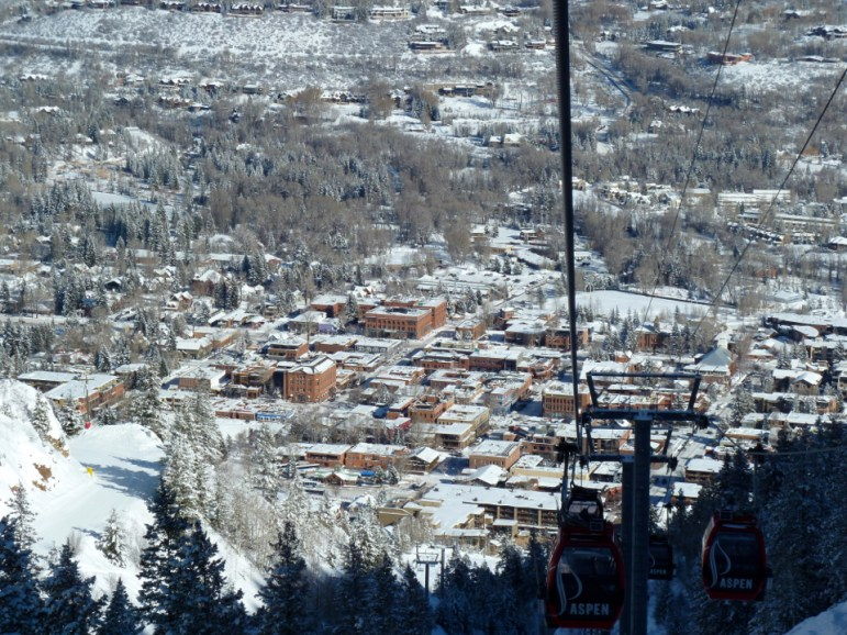 A view of Aspen from the Silver Queen Gondola on Aspen Mountain, in 2014.