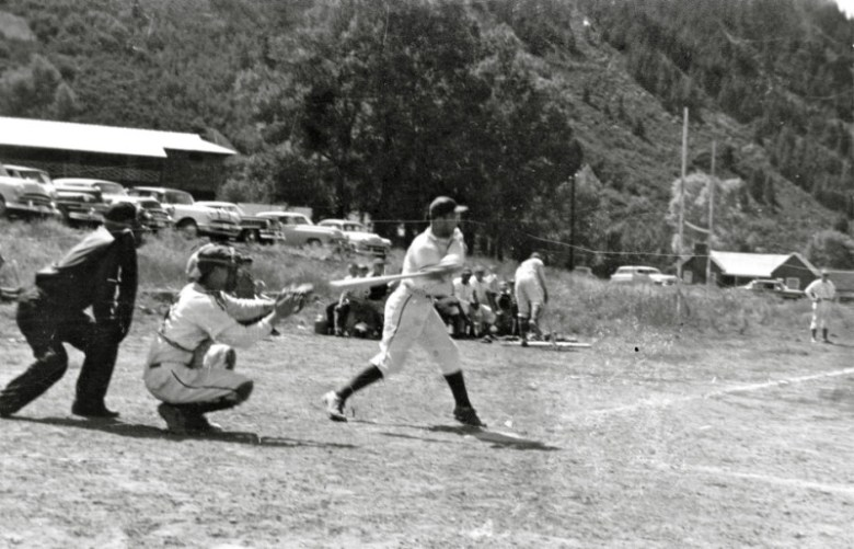Lowell Elisha steps up to bat at a 1954 baseball game in Wagner Park pitting Aspen versus Camp Hale. For more than a century, Wagner Park has been a center for recreation. It's currently closed to the public while undergoing a nearly $1 million overhaul.