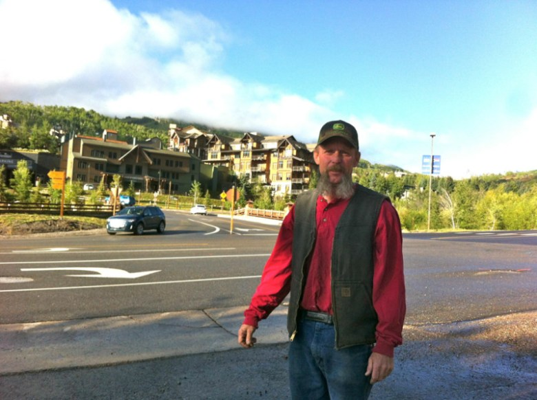 Jeff Head, an owner of the Snowmass Conoco, standing across from the intersection of Brush Creek Road and Wood Road. A new roundabout there could make it harder to get to the Conoco station.