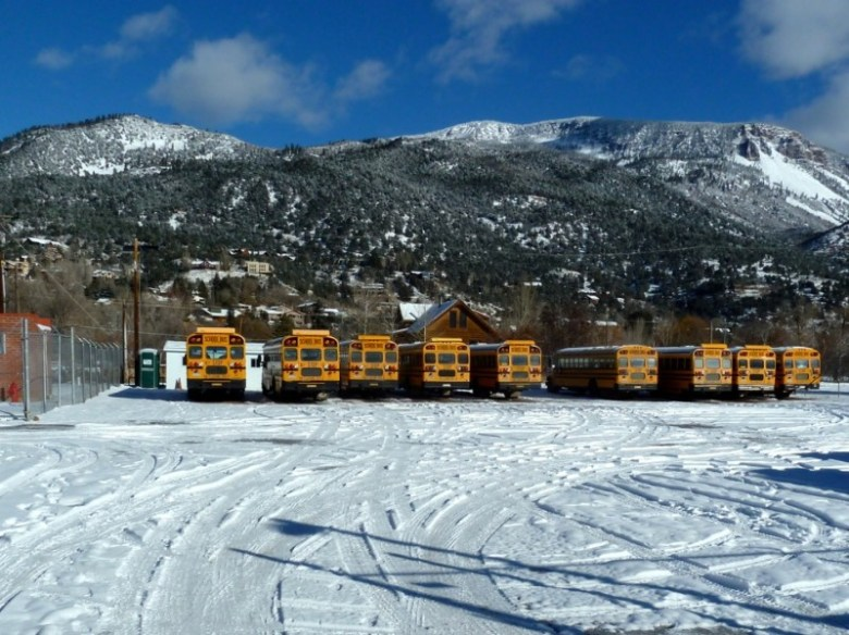 The bus parking lot between the Basalt middle and elementary schools.