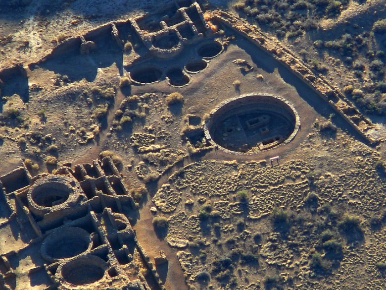 This aerial view of a Chacoan great house reveals the immensity of these stone age buildings.