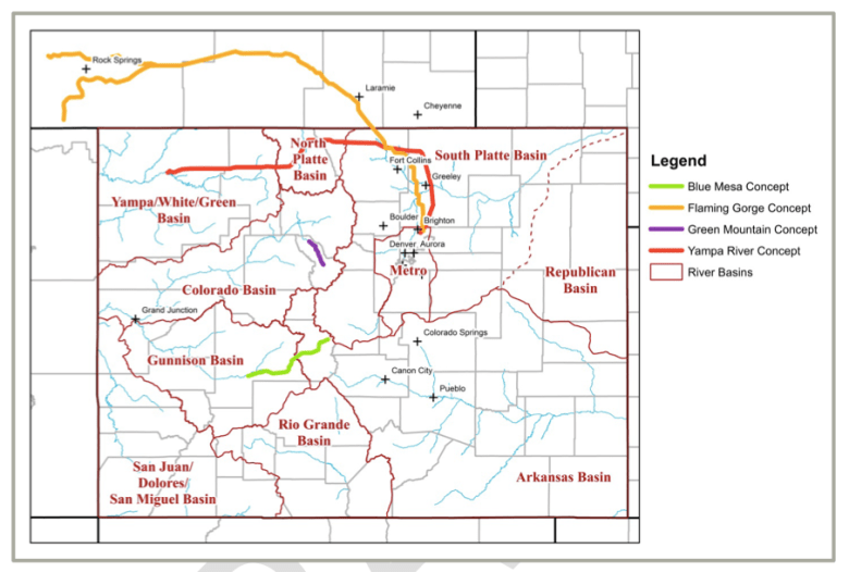 Map showing conceptual pipelines from the Green, Yampa, Gunnison and Blue rivers.