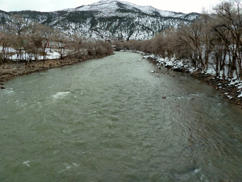 Looking upstream from the pedestrian bridge across the Colorado River below downtown Glenwood Springs. The City of Glenwood has proposed building a whitewater park on this stretch, but the Glenwood Springs Hot Springs Lodge & Pool is concerned that structures in the river could damage its source of hot water for the pool.
