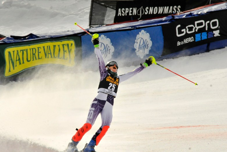 Resi Stiegler who is racing independently this season, celebrates her smoking second run on Sunday at Aspen Winternational. Along with prestige, living the ski dream and the chance to make some good money, a year on the World Cup can also bring personal loans, benefit events, Crowdfunding and RallyMe.