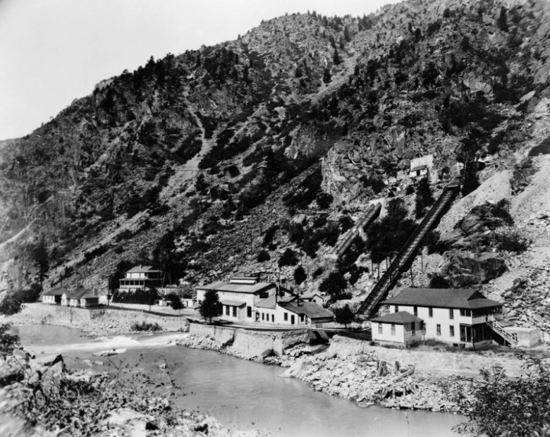 A historic photo of the Shoshone hydropower plant.