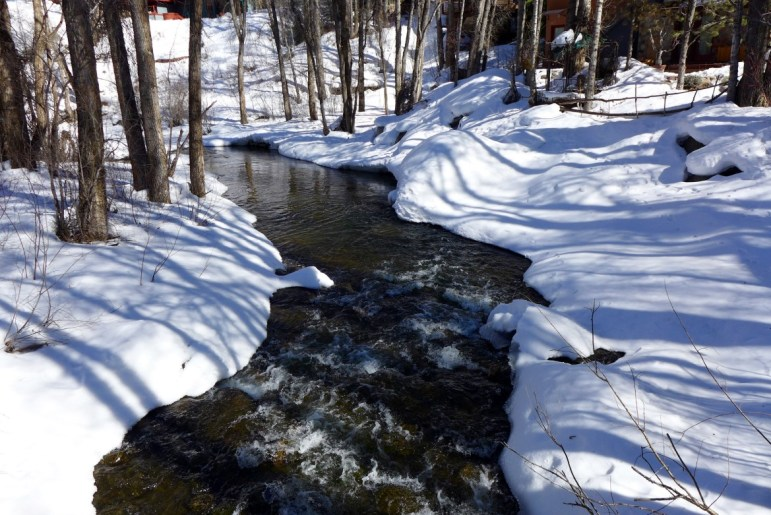 The Roaring Fork River just downstream of Herron Park and Queen Street. The city has filed for a water right for a new well on Queen Street that could deplete the Roaring Fork River, and a state agency wants to see an augmentation plan for the well to protect instream flows in the river.