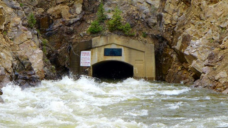 The east end of the Twin Lakes Tunnel on June 6, 2016. The four-mile long tunnel brings water from Grizzly Reservoir to Lake Creek, Twin Lakes Reservoir, and on to Front Range cities and fields.