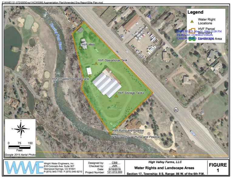 A graphic from High Valley Farms showing the location of the facility and water sources.