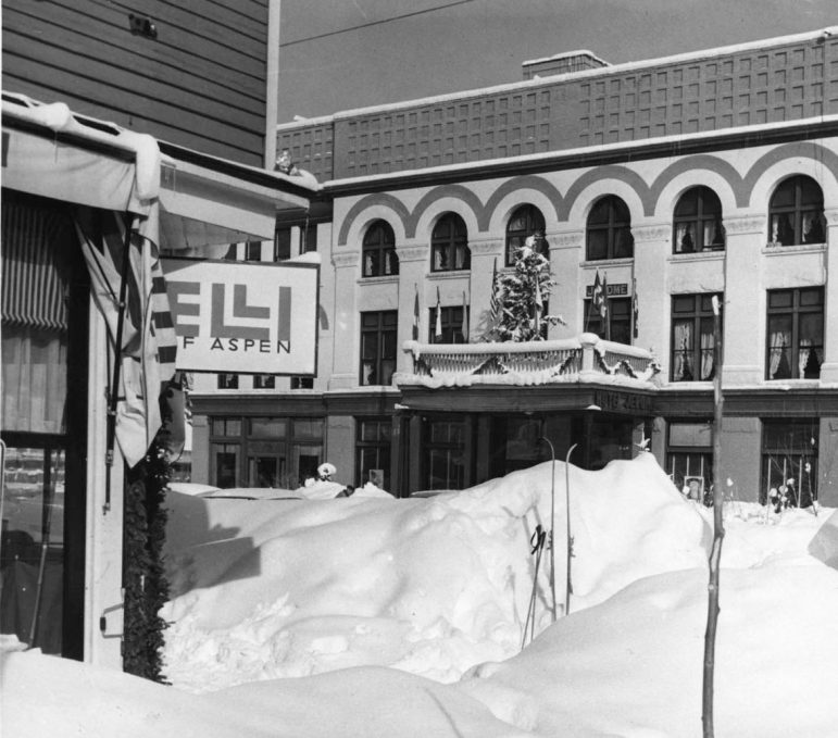 The corner of Mill and Main streets in Aspen in the early 1960s.