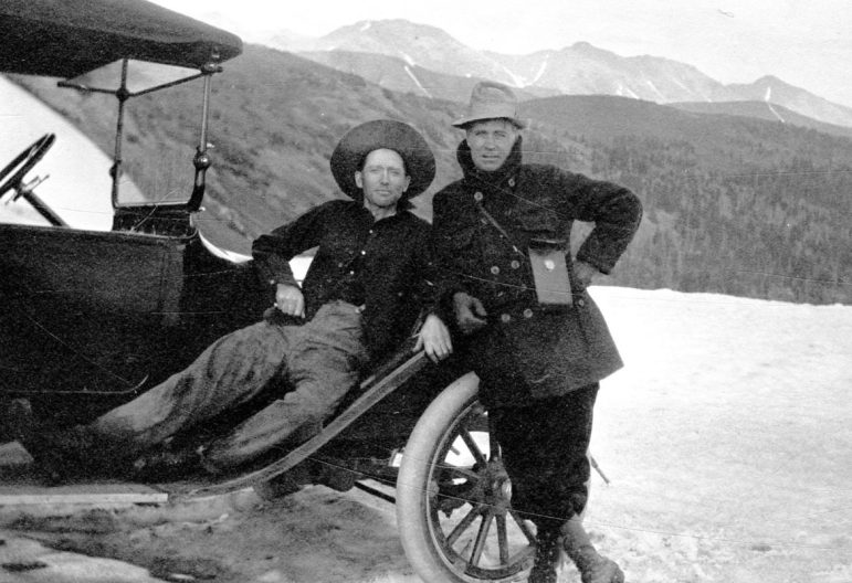 Two travelers from Aspen on Independence Pass, in 1920, in what came to be known as The Quiet Years for Aspen.