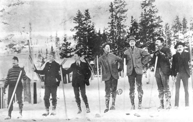 Miners, about 1890, on skis in the Aspen area.