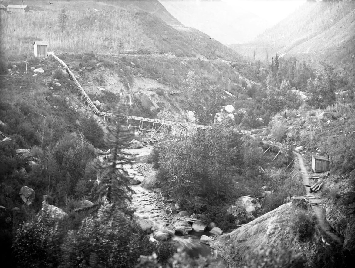 The lower end of the Castle Creek flume, about 1900. A water right to use 60 cfs of water in the flume dates to Nov. 16, 1885. The original claimant was the Castle Creek Water Co. Today, the water right is the City of Aspen's most senior diversion right in its portfolio of water rights.
