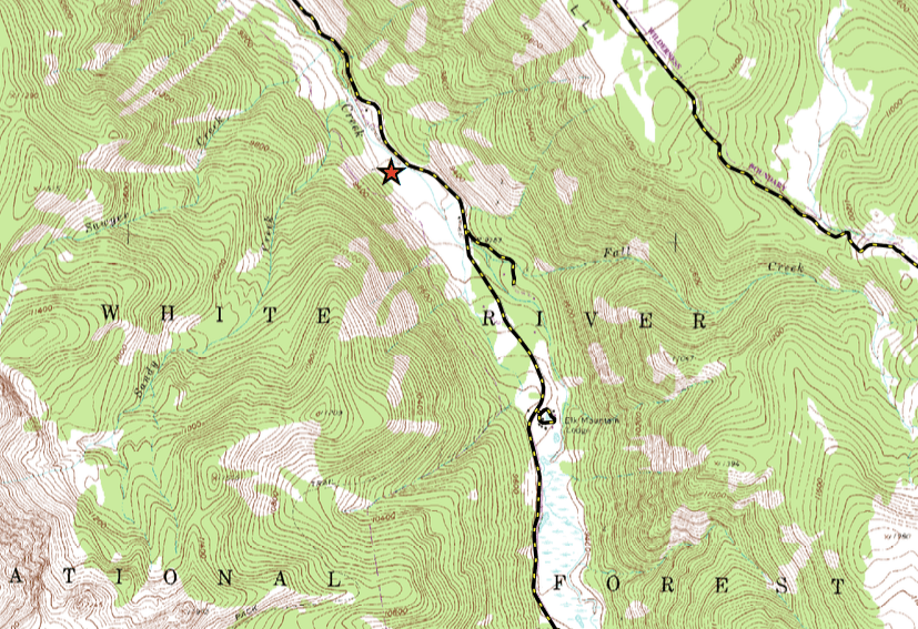 A topographic map showing the location of the potential Castle Creek Reservoir, downstream of Ashcroft. The map was submitted by the City of Aspen as part of its Oct. 31, 2016 diligence filing.