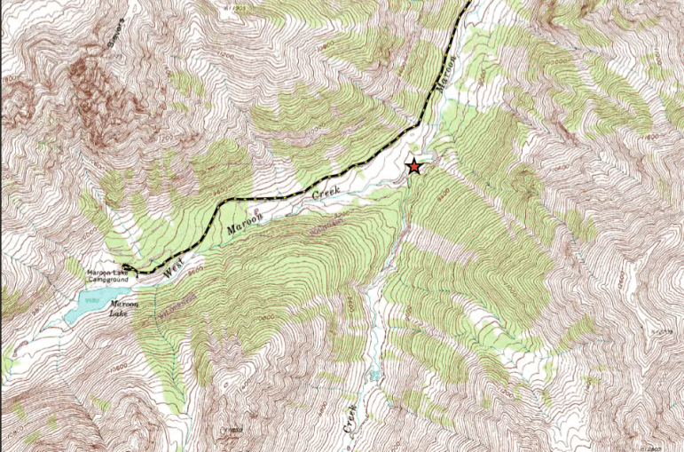 A topographic map showing the location of the potential Maroon Creek Reservoir. The map was filed by the City of Aspen in Div. 5 Water Court on Oct. 31, 2016 as part of a diligence application.