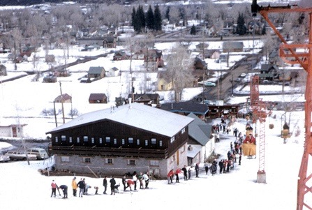A line for Lift 1 at the base of Aspen Mountain, in the late 1950s. The popularity of the young ski area was increasing and optimistic growth projections were being made.