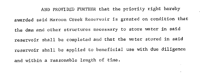 A detail from the water right decree for Maroon Creek Reservoir.
