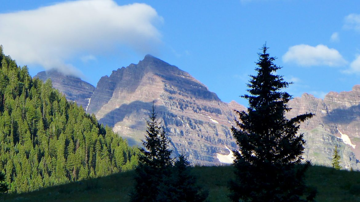 A view of the Maroon Bells from near potential damsite of the Maroon Creek Reservoir.
