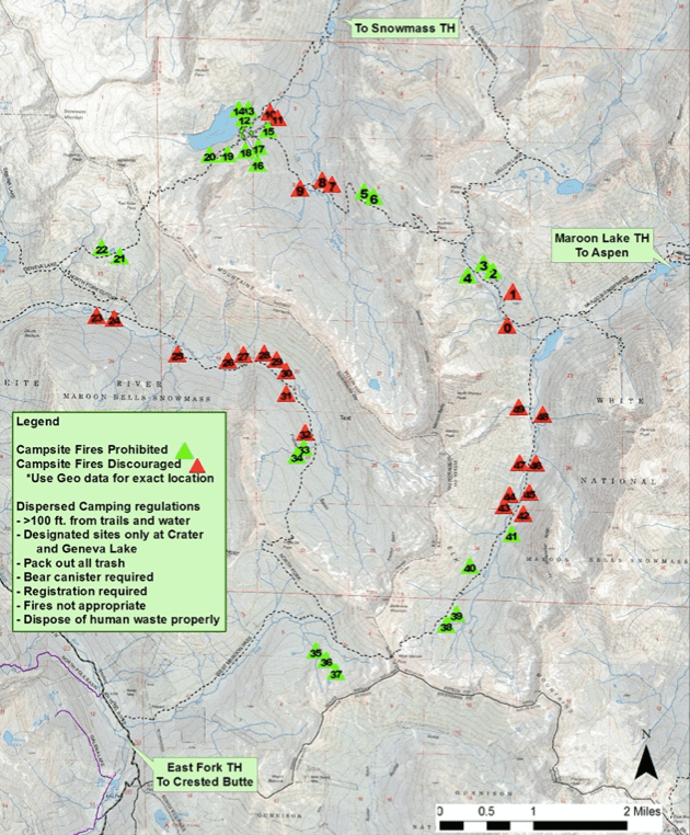 """Four Pass Loop, shows 49 """"select campsites"""" the meet wilderness management standards"""