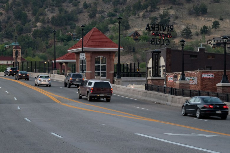Cars drive on the Grand Avenue Bridge in Glenwood Springs