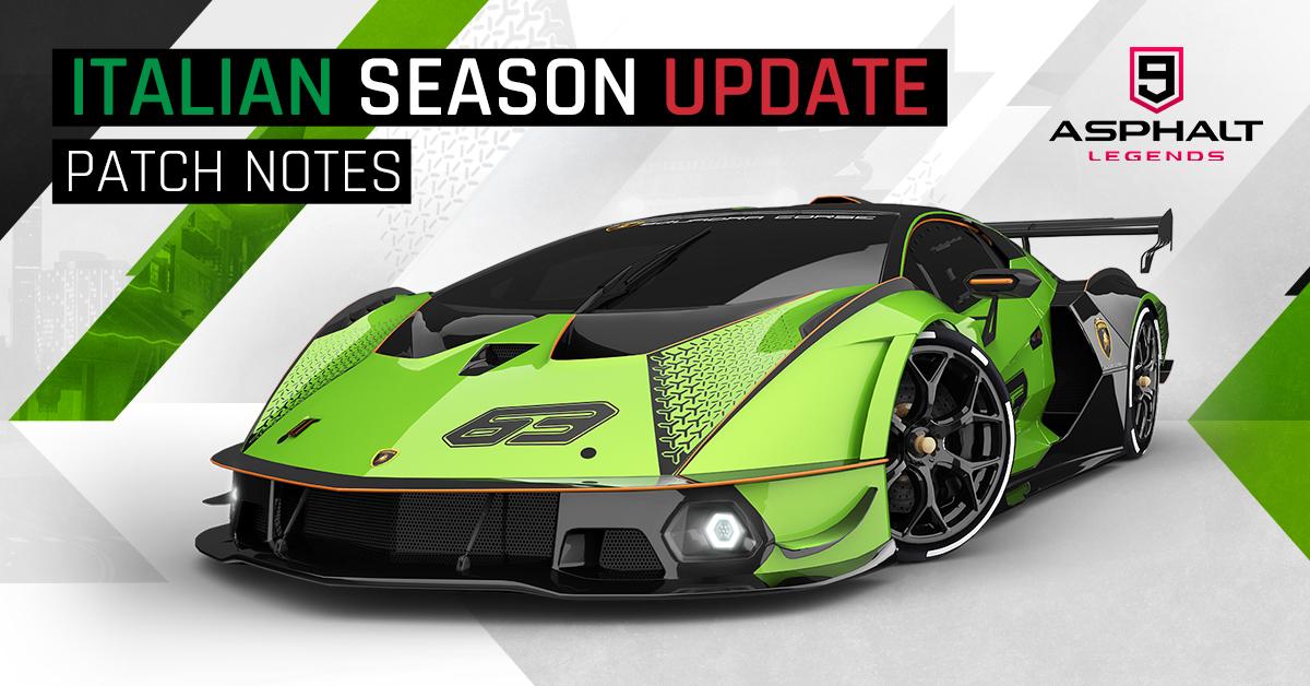 Asphalt 9 Update 18 Italian Season