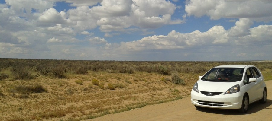 Our 2013 Honda Fit on its way through C.R.7950 south west of Nageezi,NM on our way to Chaco Canyon National Historic Park.