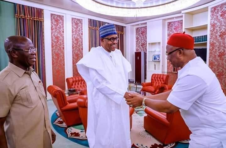 President Buhari-Hope Uzodinma-Adams Oshiomhole