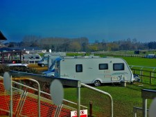 Caravans parked where on race days there would be bookies.
