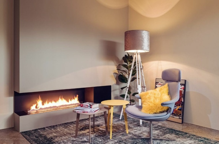 corner fireplace interior design and