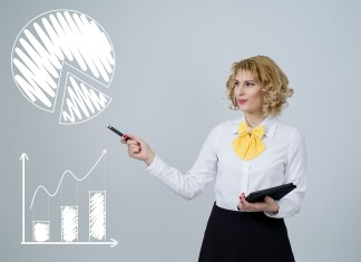 Picture of lady pointing toward a number of graphs