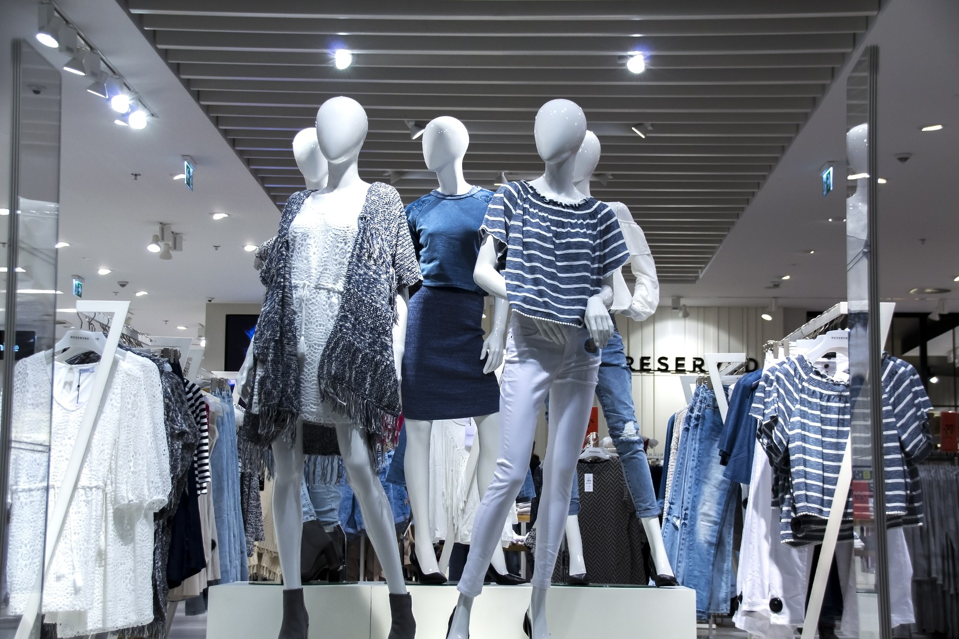 A bunch of mannequins representing different brands