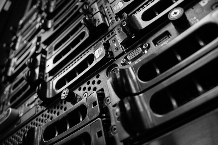 A server rack with disparate components.
