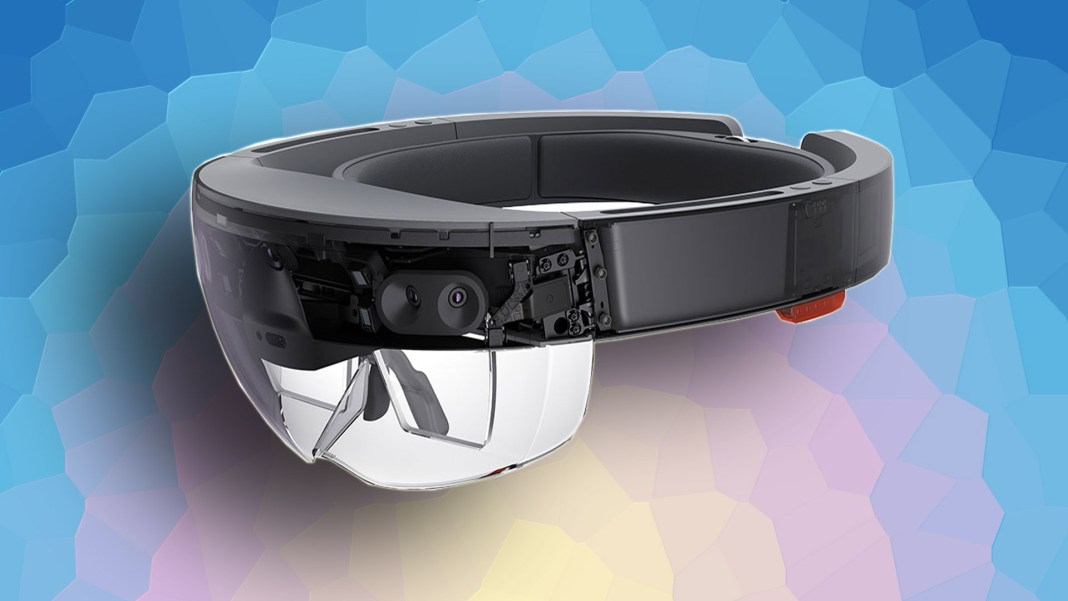 A picture of Microsoft HoloLens against an abstract background