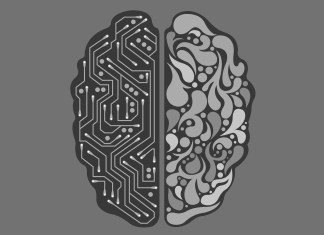 A image of brain showing AI interface
