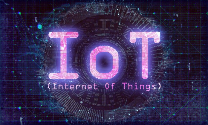 A digital graphic with the words IoT   Aspioneer