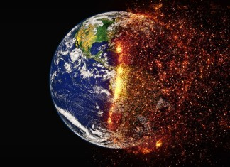 A burning earth from outer space