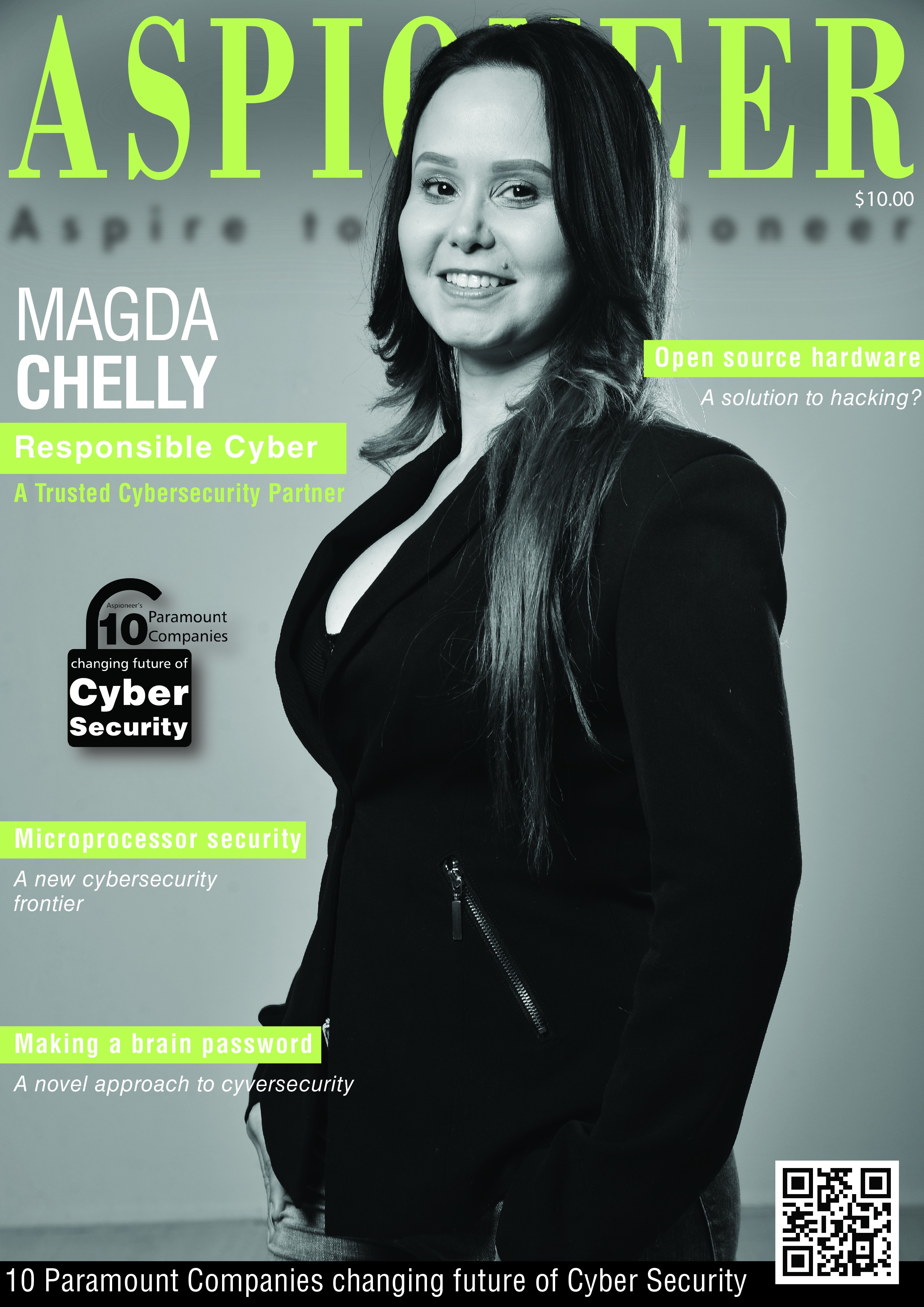 Magazine cover with a woman in black and white, green letterring