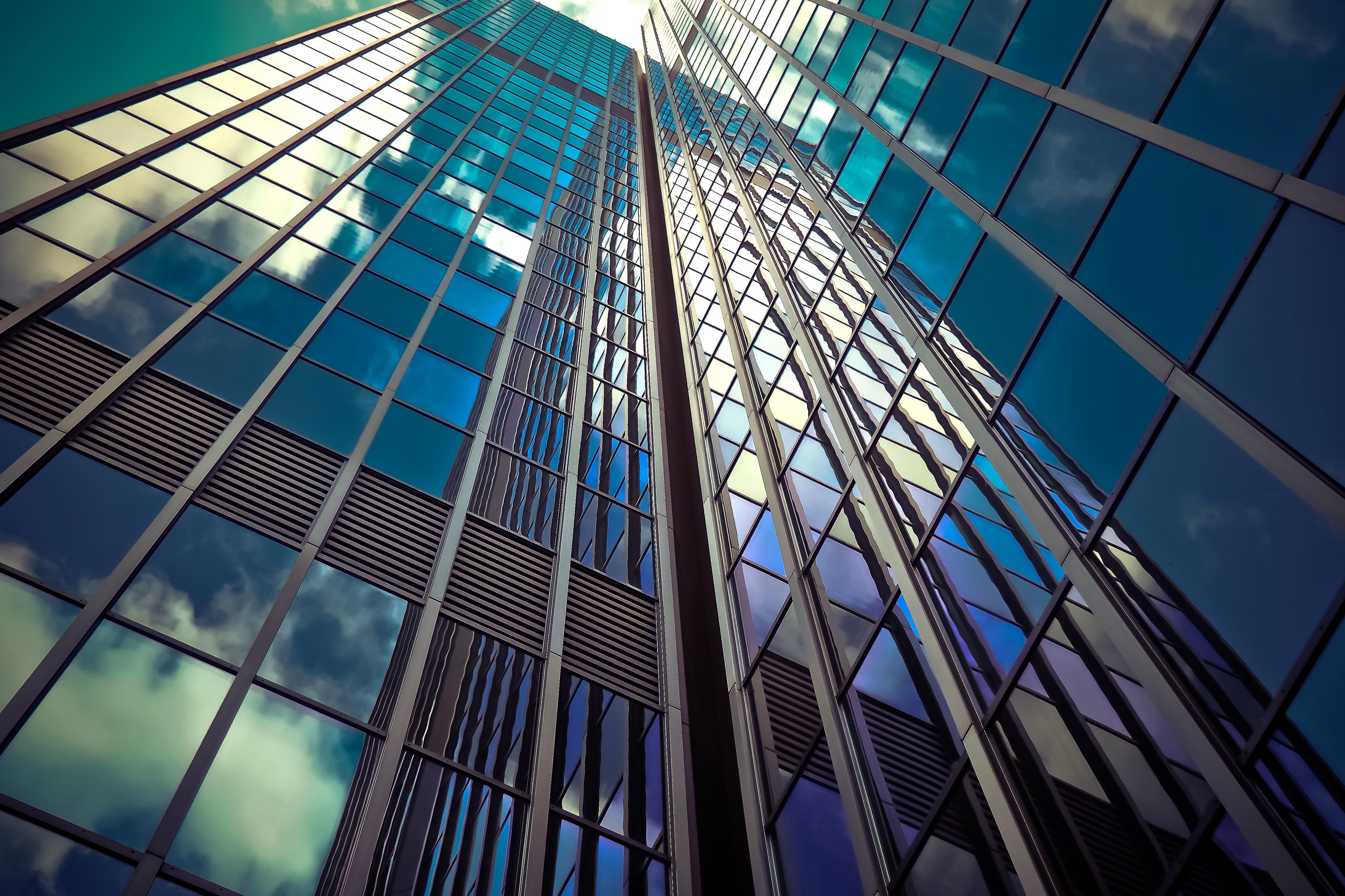 A glass facade of a building