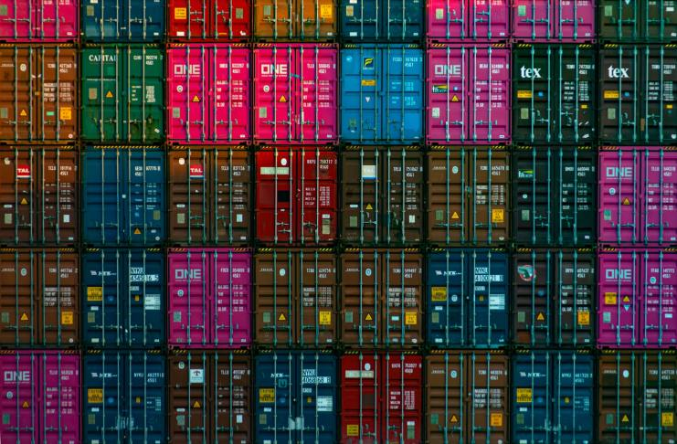 Stack of shipping containers.