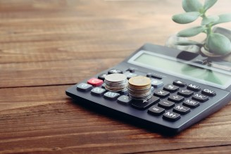 Calculator, coins of euro, money tree on wooden desk. Concept of growing money, money saving, financial investment, nature and finance, stock of cash